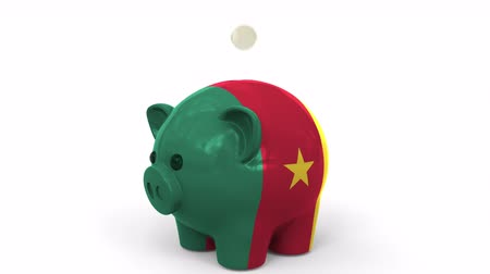 kuruş : Coins fall into piggy bank painted with flag of Cameroon. National banking system or savings related conceptual 3D animation