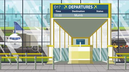pbb : Airport terminal. Departure board above the gate with Mumbai text. Travel to India loopable cartoon animation