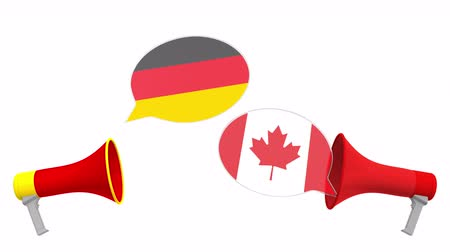 drapeau canadien : Speech bubbles with flags of Canada and Germany. Intercultural dialogue or international talks related 3D animation