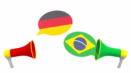 bandiera brasiliana : Speech bubbles with flags of Brazil and Germany and loudspeakers. Intercultural dialogue or international talks related 3D animation Filmati Stock