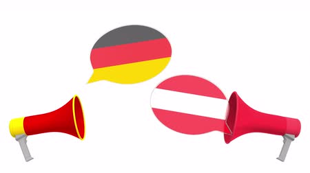 dispute : Speech bubbles with flags of Austria and Germany and loudspeakers. Intercultural dialogue or international talks related 3D animation