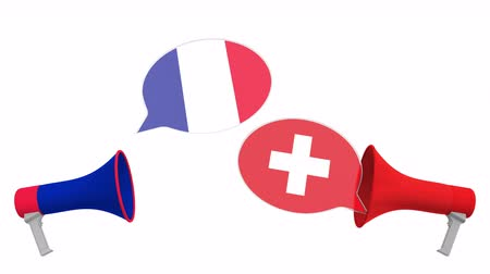 megafon : Speech bubbles with flags of Switzerland and France. Intercultural dialogue or international talks related 3D animation
