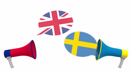 мегафон : Speech bubbles with flags of Sweden and the United Kingdom. Intercultural dialogue or international talks related 3D animation