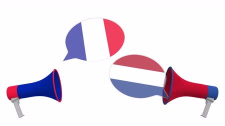 утверждение : Flags of Netherlands and France on speech bubbles with loudspeakers. Intercultural dialogue or international talks related 3D animation