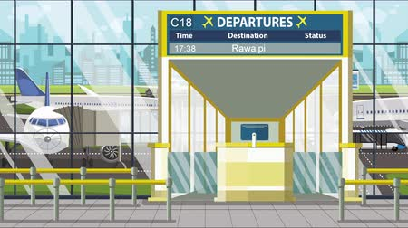 Пакистан : Airport terminal. Departure board above the gate with Rawalpindi text. Travel to Pakistan loopable cartoon animation Стоковые видеозаписи