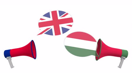 political speech : Speech bubbles with flags of Hungary and the United Kingdom. Intercultural dialogue or international talks related 3D animation Stock Footage