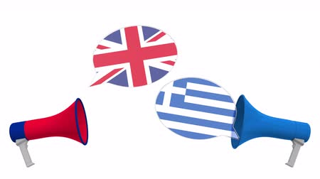 greece flag : Speech bubbles with flags of Greece and the United Kingdom. Intercultural dialogue or international talks related 3D animation Stock Footage