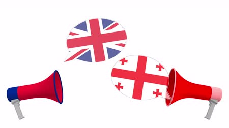 political speech : Flags of Georgia and the United Kingdom on speech bubbles with loudspeakers. Intercultural dialogue or international talks related 3D animation Stock Footage