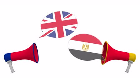 debat : Flags of Egypt and the United Kingdom on speech bubbles with loudspeakers. Intercultural dialogue or international talks related 3D animation Stockvideo