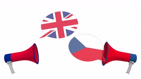 мегафон : Speech bubbles with flags of Czech and the United Kingdom. Intercultural dialogue or international talks related 3D animation