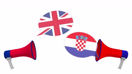 debat : Speech bubbles with flags of Croatia and the United Kingdom. Intercultural dialogue or international talks related 3D animation