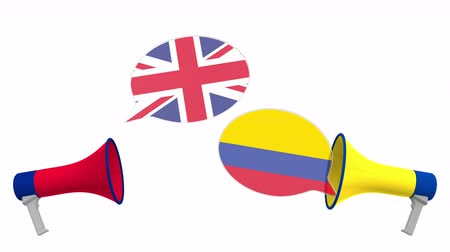 colômbia : Flags of Colombia and the United Kingdom on speech bubbles with loudspeakers. Intercultural dialogue or international talks related 3D animation
