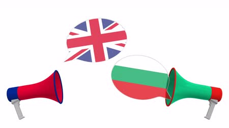 political speech : Flags of Bulgaria and the United Kingdom on speech bubbles with loudspeakers. Intercultural dialogue or international talks related 3D animation
