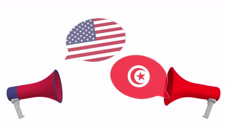 tunesie : Speech bubbles with flags of Tunisia and the USA. Intercultural dialogue or international talks related 3D animation