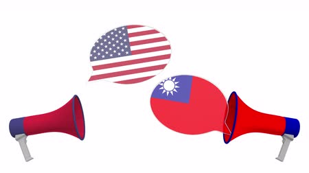 vita : Speech bubbles with flags of Taiwan and the USA and loudspeakers. Intercultural dialogue or international talks related 3D animation