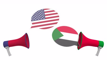 debata : Speech bubbles with flags of Sudan and the USA and loudspeakers. Intercultural dialogue or international talks related 3D animation