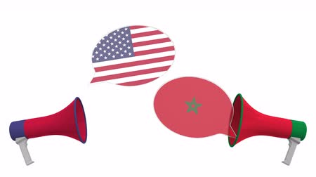 мегафон : Speech bubbles with flags of Morocco and the USA and loudspeakers. Intercultural dialogue or international talks related 3D animation Стоковые видеозаписи