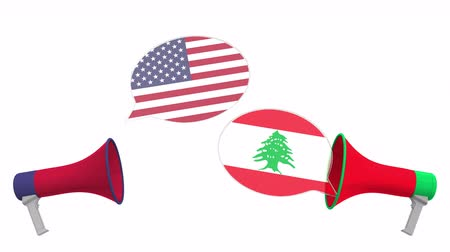 debata : Speech bubbles with flags of Lebanon and the USA and loudspeakers. Intercultural dialogue or international talks related 3D animation