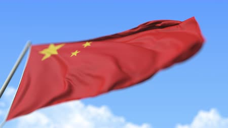 high rises : Flying national flag of China, low angle view. Loopable realistic slow motion 3D animation