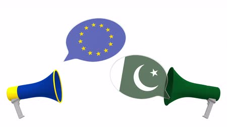 мегафон : Speech bubbles with flags of Pakistan and the European Union EU. Intercultural dialogue or international talks related 3D animation Стоковые видеозаписи