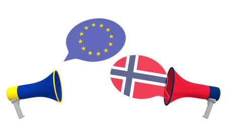 meeting negotiate : Flags of Norway and the European Union on speech balloons from megaphones. Intercultural dialogue or international talks related 3D animation