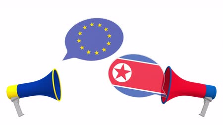 corée du nord : Speech bubbles with flags of North korea and the European Union EU. Intercultural dialogue or international talks related 3D animation