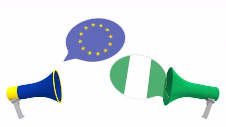 nigeria flag : Flags of Nigeria and the European Union on speech bubbles with loudspeakers. Intercultural dialogue or international talks related 3D animation