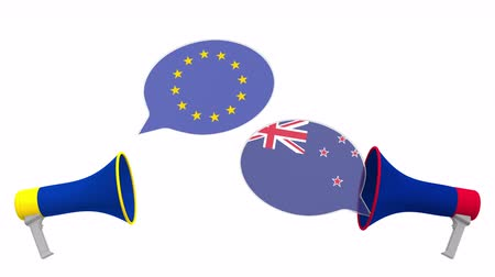 debat : Speech bubbles with flags of New Zealand and the European Union EU. Intercultural dialogue or international talks related 3D animation