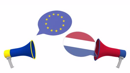 мегафон : Flags of Netherlands and the European Union on speech bubbles with loudspeakers. Intercultural dialogue or international talks related 3D animation Стоковые видеозаписи