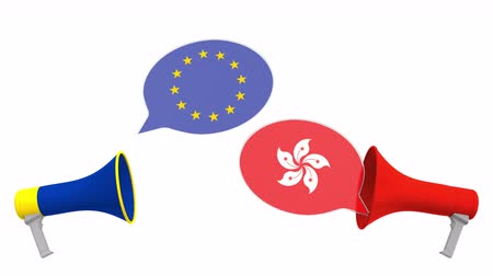 мегафон : Speech bubbles with flags of Hong kong and the European Union EU. Intercultural dialogue or international talks related 3D animation