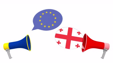 negotiate : Speech bubbles with flags of Geogia and the European Union EU. Intercultural dialogue or international talks related 3D animation