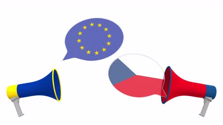 debata : Speech bubbles with flags of the Czech Republic and the European Union EU. Intercultural dialogue or international talks related 3D animation