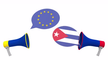 cubano : Flags of Cuba and the European Union on speech bubbles with loudspeakers. Intercultural dialogue or international talks related 3D animation