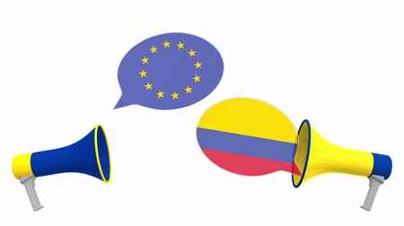 colômbia : Flags of Colombia and the European Union on speech bubbles with loudspeakers. Intercultural dialogue or international talks related 3D animation Vídeos