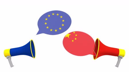 утверждение : Flags of China and the European Union on speech balloons from megaphones. Intercultural dialogue or international talks related 3D animation