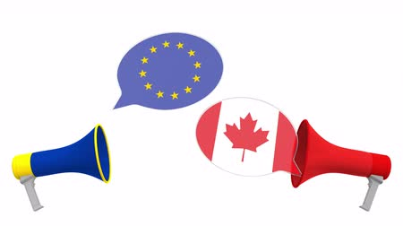 debata : Speech bubbles with flags of Canada and the European Union EU. Intercultural dialogue or international talks related 3D animation