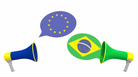 bandiera brasiliana : Speech bubbles with flags of Brazil and the EU and loudspeakers. Intercultural dialogue or international talks related 3D animation