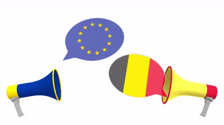 dispute : Flags of Belgium and the European Union on speech bubbles with loudspeakers. Intercultural dialogue or international talks related 3D animation Stock Footage