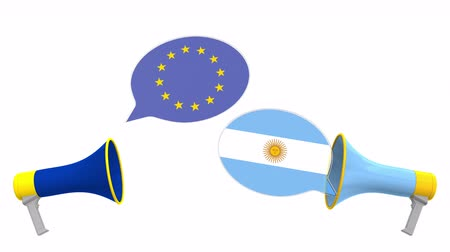 мегафон : Speech bubbles with flags of Argentina and the European Union EU. Intercultural dialogue or international talks related 3D animation