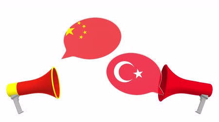 мегафон : Speech bubbles with flags of Turkey and China. Intercultural dialogue or international talks related 3D animation