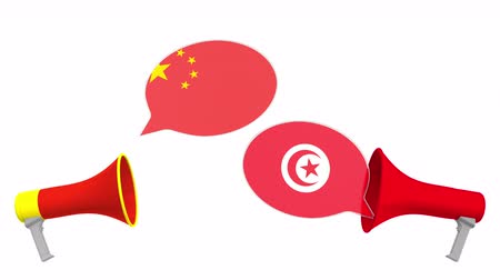 tunesie : Speech bubbles with flags of Tunisia and China. Intercultural dialogue or international talks related 3D animation