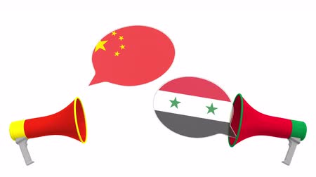 debata : Flags of Syria and China on speech bubbles with loudspeakers. Intercultural dialogue or international talks related 3D animation