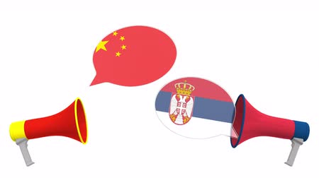 sérvia : Speech bubbles with flags of Serbia and China and loudspeakers. Intercultural dialogue or international talks related 3D animation
