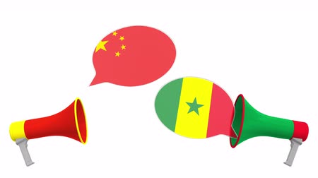 мегафон : Speech bubbles with flags of Senegal and China. Intercultural dialogue or international talks related 3D animation