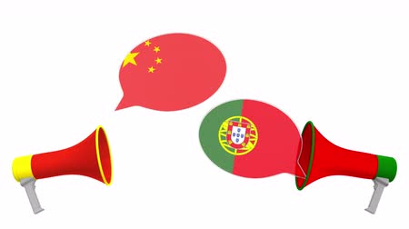 vita : Speech bubbles with flags of Portugal and China. Intercultural dialogue or international talks related 3D animation Stock mozgókép
