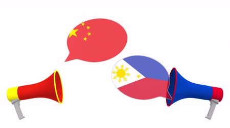 утверждение : Speech bubbles with flags of Philippines and China. Intercultural dialogue or international talks related 3D animation