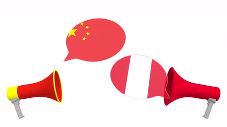 debata : Speech bubbles with flags of Peru and China. Intercultural dialogue or international talks related 3D animation