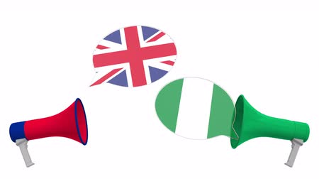 debata : Flags of Nigeria and the United Kingdom on speech bubbles with loudspeakers. Intercultural dialogue or international talks related 3D animation