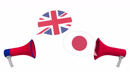 мегафон : Speech bubbles with flags of Japan and the United Kingdom. Intercultural dialogue or international talks related 3D animation Стоковые видеозаписи