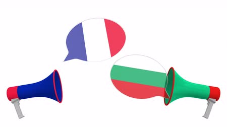 bulharština : Speech bubbles with flags of Bulgaria and France. Intercultural dialogue or international talks related 3D animation